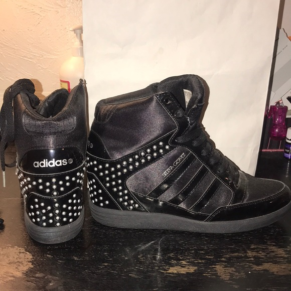 great look finest selection the cheapest Adidas x Selena Gomez wedge sneakers 9 black silv